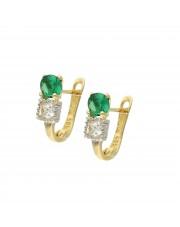 Złote kolczyki z zieloną cyrkonią