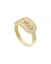 Złoty pierścionek z diamentowanymi kulkami
