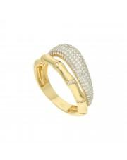 Złoty pierścionek na wzór bambusa