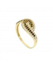Ciekawy pierścionek z czarnymi i białymi cyrkoniami