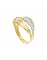 Ciekawy złoty pierścionek z cyrkoniami