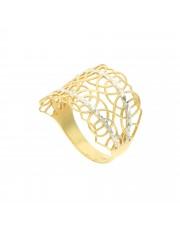 Złoty szeroki ażurowy pierścionek