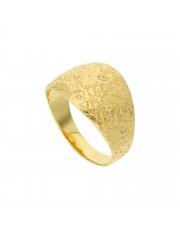 Złoty piaskowany pierścionek