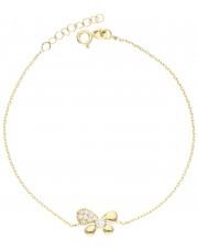 Złota bransoletka z motylem