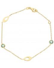 Złota bransoletka z niebieskimi cyrkoniami