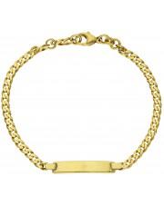 Złota bransoletka pancerka z blaszką