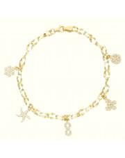 Złota bransoletka z subtelnymi przywieszkami