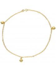 Złota bransoletka na kostkę z serduszkami