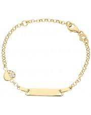 Złota bransoletka z blaszką i serduszkiem 14 cm