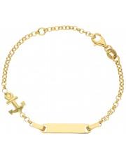 Złota bransoletka z kotwicą dla chłopca 14 cm