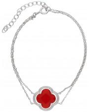 Srebrna bransoleta z czerwoną cyrkonią