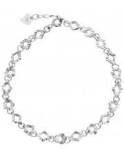 Ażurowa srebrna bransoleta z motywem koniczyny