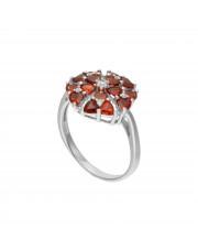 Srebrny pierścionek z małymi czerwonymi cyrkoniami