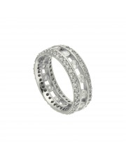 Ażurowy srebrny pierścionek z cyrkoniami