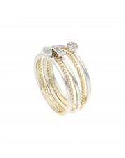 Podwójny pierścionek z białego i żółtego złota