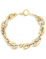 Okazała bransoletka z białego i żółtego złota
