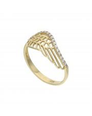 Złoty pierścionek skrzydło anioła