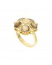 Złoty pierścionek z kwarcem dymnym i cyrkoniami