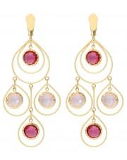 Złote kolczyki z turmalinem i kwarcem różowym