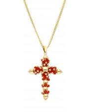 Duży złoty krzyż z koralem