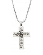 Srebrny krzyżyk z różą