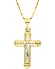 Duży złoty krzyżyk z wizerunkiem Jezusa