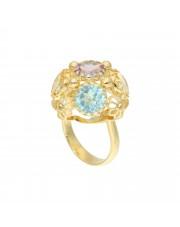 Złoty pierścionek z topazem, cytrynem i ametystem