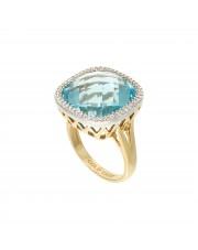 Złoty pierścionek z topazem niebieskim