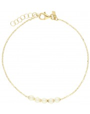 Złota bransoleta z białymi perłami