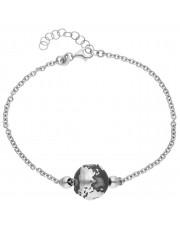 Srebrna bransoleta z globusem na łańcuszku