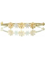 Złota, sztywna bransoletka z kwiatkami