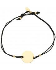 Sznurkowa bransoletka ze złotym elementem kółko
