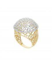 Piękny pierścionek z białego i żółtego złota