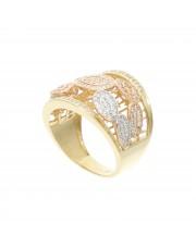 Złoty ażurowy pierścionek z cyrkoniami