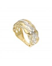 Złoty pierścionek fala z cyrkonami