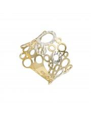Oryginalny szeroki ażurowy złoty pierścionek