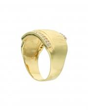 Złoty, szeroki pierścionek z cyrkoniami