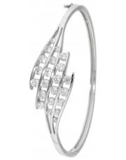 Srebrna sztywna bransoleta z cyrkoniami