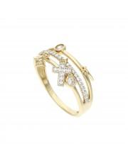 Złoty pierścionek z przywieszkami