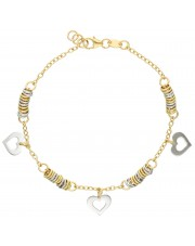 Złota bransoleta z zawieszkami w kształcie serca