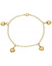 Złora bransoleta z przywieszkami w kształcie serca
