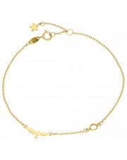 Złota bransoletka celebrytka z jaskółką