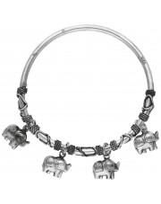 Sztywna bransoleta z przywieszkami w kształcie słonia