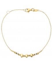 Delikatna złota bransoletka z serduszkami