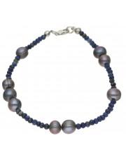 Srebrna bransoleta z perłami i lazurytem