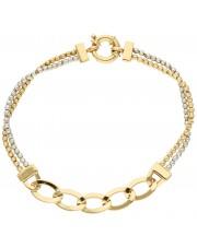 Ciekawa złota bransoletka z diamentowanymi kulkami