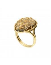 Złoty pierścionek z kwarcytem