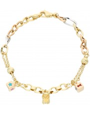 Bransoletka w trzech kolorach złota z przywieszkami