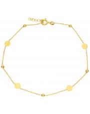 Złota bransoletka na kostkę 23 cm