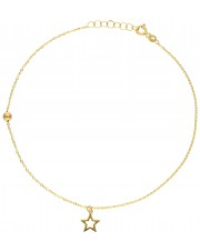 Złota bransoletka na kostkę z gwiazdką